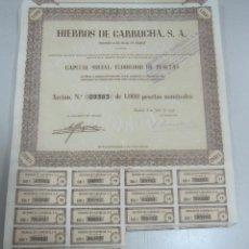 Coleccionismo Acciones Españolas: ACCION. HIERROS DE GARRUCHA. MADRID. 1953. Lote 57642706