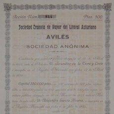Coleccionismo Acciones Españolas: TRANVÍA A VAPOR DEL LITORAL ASTURIANO, AVILÉS - ASTURIAS (1923). Lote 57815512