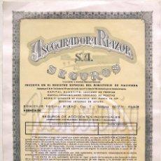 Coleccionismo Acciones Españolas: ACCION ASEGURADORA RIAZOR BILBAO SEGUROS AÑOS 80 ACCIONES. Lote 57952179