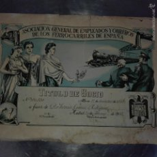 Coleccionismo Acciones Españolas: TITULO DE SOCIO ASOCIACIÓN DE EMPLEADOS Y OBREROS DE LOS FERROCARRILES DE ESPAÑA 1948. Lote 58119657