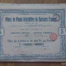Coleccionismo Acciones Españolas: MINAS DE PLOMO ARGENTÍFERO DE BARRANCO FRANCÉS (SIERRA ALMAGRERA, ALMERÍA) 1907 TITULO DE 5 ACCIONES. Lote 100472439