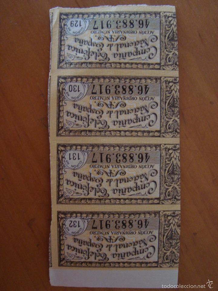 4 CUPONES COMPAÑIA TELEFONICA NACIONAL DE ESPAÑA (Coleccionismo - Acciones Españolas)