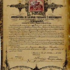 Coleccionismo Acciones Españolas: CUEVAS DE ALMANZORA S. ALMAGRERA SOC MINERA EL PORVENIR MURCIA 1881 . Lote 58177634