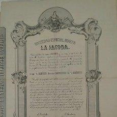 Coleccionismo Acciones Españolas: SOCIEDAD ESPECIAL MINERA LA JACOBA EN BARRANCO JAROSO DE SIERRA ALMAGRERA LORCA 1867 MURCIA ALMERIA. Lote 58441960