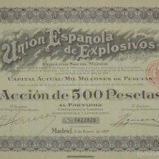 Collectionnisme Actions Espagne: UNIÓN ESPAÑOLA DE EXPLOSIVOS, MADRID (1957). Lote 58688219