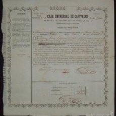 Coleccionismo Acciones Españolas: CAJA UNIVERSAL DE CAPITALES - CIA DE SEGUROS MUTUOS SOBRE LA VIDA, MADRID / CEDEIRA LA CORUÑA (1860). Lote 58688465