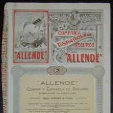 Coleccionismo Acciones Españolas: COMPAÑÍA ESPAÑOLA DE SEGUROS ALLENDE, BARCELONA (1918). Lote 58688539