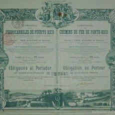 Coleccionismo Acciones Españolas: COMPAÑÍA DE LOS FERROCARRILES DE PUERTO RICO, MADRID (1911). Lote 58689093