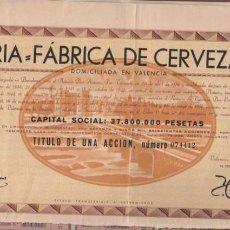 Coleccionismo Acciones Españolas: ACCIÓN EL TURIA FABRICA DE CERVEZA SA 1956 VALENCIA. Lote 105962922
