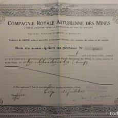 Coleccionismo Acciones Españolas: COMPAÑÍA REAL ASTURIANA DE MINAS (1923). Lote 59999953
