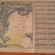Coleccionismo Acciones Españolas: SOCIEDAD GENERAL DE RIEGOS CONSTITUIDA ANTE NOTARIO EN BARCELONA EL 30 JUNIO 1905 - ACCION 50 PTAS . Lote 60269263
