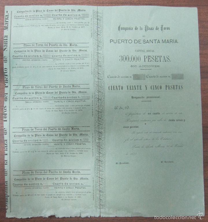 ACCION DE LA PLAZA DE TOROS DEL PUERTO SANTA MARIA. 1877. 39,5 X37 CM (Coleccionismo - Acciones Españolas)