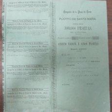 Coleccionismo Acciones Españolas: ACCION DE LA PLAZA DE TOROS DEL PUERTO SANTA MARIA. 1877. 39,5 X37 CM. Lote 60559099