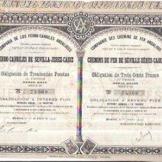 Coleccionismo Acciones Españolas: ACCION. FERROCARRILES DE SEVILLA - JEREZ - CADIZ. 1907. COMPAÑIA DE LOS FERRO- CARRILES ANDALUCES.. Lote 61309915