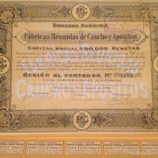 Coleccionismo Acciones Españolas: FÁBRICAS REUNIDAS DE CAUCHO Y APÓSITOS (BARCELONA, 1920). Lote 61435070