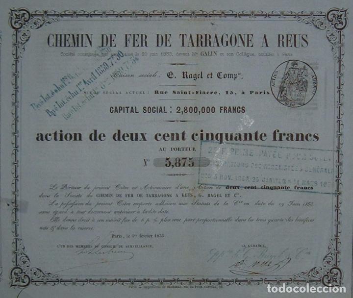 FERROCARRIL DE TARRAGONA A REUS (1855) (Coleccionismo - Acciones Españolas)