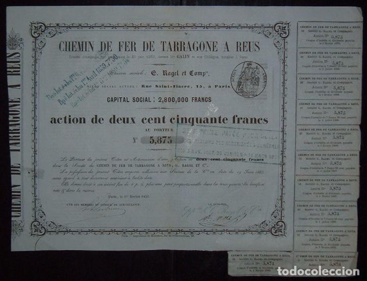 Coleccionismo Acciones Españolas: Ferrocarril de Tarragona a Reus (1855) - Foto 2 - 61604910