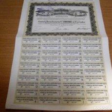 Coleccionismo Acciones Españolas: ACCION COMPAÑIA DE LOS CAMINOS DE HIERRO SALTOS Y MINAS DE CATALUÑA - BARCELONA 1 MARZO 1912. Lote 61867140