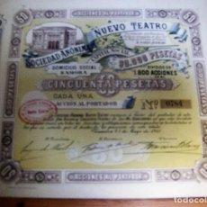 Coleccionismo Acciones Españolas: ACCION SOCIEDAD ANONIMA NUEVO TEATRO - ZAMORA 25 MAYO 1915. Lote 61867184