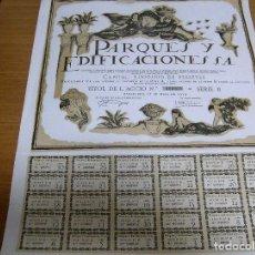 Coleccionismo Acciones Españolas: ACCION PARQUES Y EDIFICACIONES S. A. - BARCELONA 17 MAYO 1919. Lote 61867608