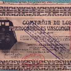Coleccionismo Acciones Españolas: ACCION DE LA COMPAÑÍA DE LOS FERROCARRILES VASCONGADOS. AÑO 1941.. Lote 61986916