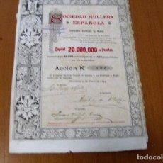 Coleccionismo Acciones Españolas: ACCION SOCIEDAD HULLERA ESPAÑOLA , COMPAÑIA ANONIMA DE MINAS - BARCELONA 4 ENERO 1893. Lote 62272864