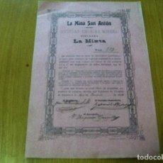 Coleccionismo Acciones Españolas: ACCION LA MINA SAN ANTON S. A. MINERA TITULADA LA MIXTA - TORRALBA DE CALATRAVA 20 JUNIO 1908. Lote 62279560