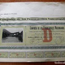 Coleccionismo Acciones Españolas: ACCION COMPAÑIA DE LOS FERROCARRILES VASCONGADAS - AÑO 1906. Lote 62287600