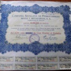 Coleccionismo Acciones Españolas: ACCION COMPAÑIA SEVILLANA DE FERROCARRILES MINAS Y METALURGIA S. A. - SEVILLA 3 DE MAYO 1928. Lote 62289592