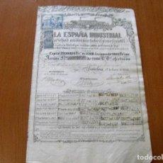 Coleccionismo Acciones Españolas: ACCION ESPAÑA INDUSTRIAL S.A. FEBRIL Y MERCANTIL - DE 2000 REALES VELLON - BARCELONA 1 ENERO 1854. Lote 62360696