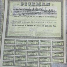Coleccionismo Acciones Españolas: ACCION. PICKMAN. FABRICA DE LOZA EN LA CARTUJA DE SEVILLA. 1955. Lote 155085852
