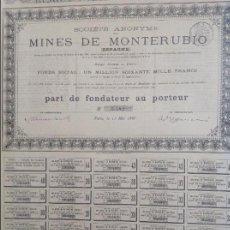 Coleccionismo Acciones Españolas: SOCIEDAD ANÓNIMA DE LAS MINAS DE MONTERUBIO (BURGOS) 1885. Lote 62600256