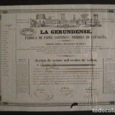 Coleccionismo Acciones Españolas: ACCION LA GERUNDENSE-AÑO 1845-VEINTE MIL REALES DE VELLON-FABRICA PAPEL-VER FOTOS-(ACCION-29). Lote 63559076