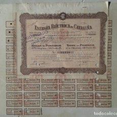 Collectionnisme Actions Espagne: OBLIGACIÓN DE LA EMPRESA ENERGÍA ELÉCTRICA DE CATALUÑA, FECHADA EN BARCELONA EN 1913.. Lote 216397321
