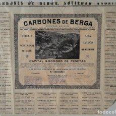 Collectionnisme Actions Espagne: ACCIÓN DE LA EMPRESA CARBONES DE BERGA, FECHADA EN BARCELONA EN 1930.. Lote 197099295