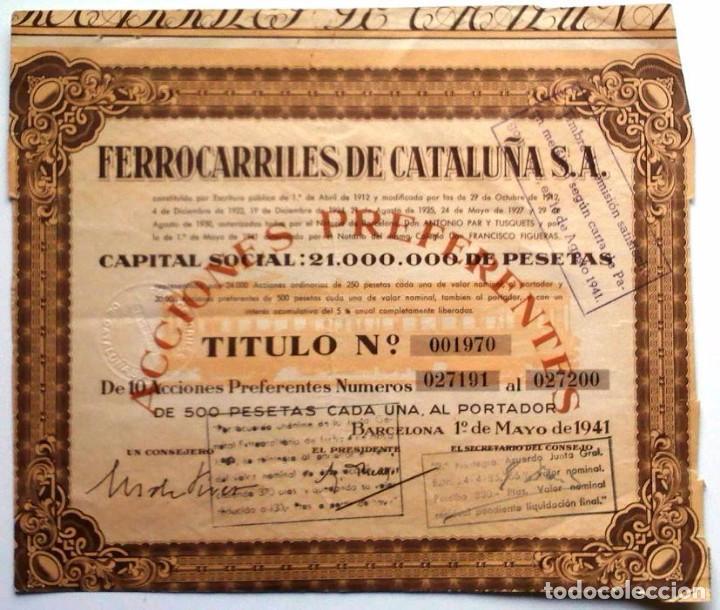 FERROCARRILES DE CATALUÑA, S. A. (Coleccionismo - Acciones Españolas)