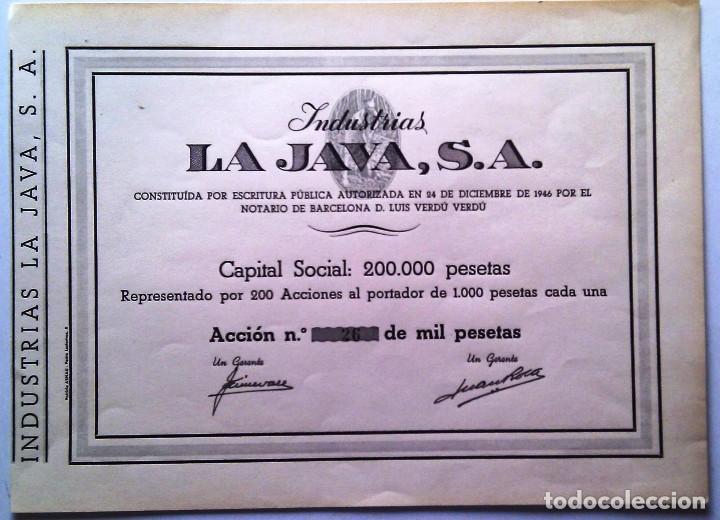 INDUSTRIAS LA JAVA, S. A. (Coleccionismo - Acciones Españolas)