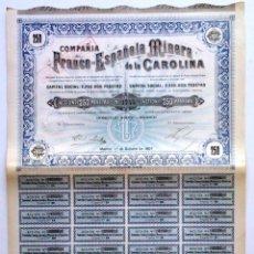Coleccionismo Acciones Españolas: COMPAÑIA FRANCO-ESPAÑOLA MINERA DE LA CAROLINA. Lote 64313511
