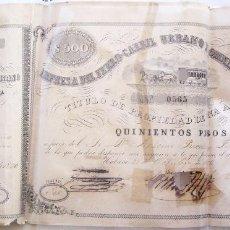 Coleccionismo Acciones Españolas: ACCION DE 500 PESOS - FERROCARRIL URBANO OMNIBUS DE LA HABANA. - CUBA 1876. Lote 66082398