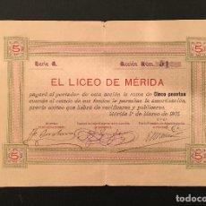 Coleccionismo Acciones Españolas: UNICA ACCION EL LICEO DE MERIDA PRIMER AÑO 1901 - MASONERIA FELIPE TRIGO, CORCHERO, LANCHO, MACÍAS. Lote 66810990