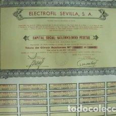 Collectionnisme Actions Espagne: ACCION ANTIGUA ORIGINAL. ELECTROFIL SEVILLA S. A. Nº 044435 AL Nº 044435. SEVILLA 1975 G-ACCION-013. Lote 67925009