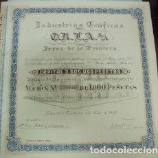 Collectionnisme Actions Espagne: ACCION ANTIGUA ORIGINAL. INDUSTRIAS GRAFICAS O.R.L.A S.A. Nº 031. JEREZ 1953 G-ACCION-021. Lote 67929709