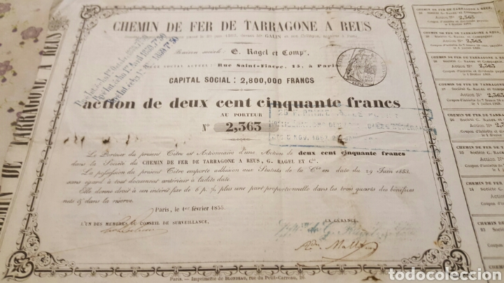 ACCION 250 FRANCOS FERROCARRIL TARRAGONA A REUS. 1855 (Coleccionismo - Acciones Españolas)