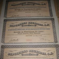 Coleccionismo Acciones Españolas: LOTE DE 3 ACCIONES (PAPELERAS REUNIDAS- ALCOY). Lote 70282793