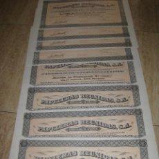 Coleccionismo Acciones Españolas: LOTE DE 8 ACCIONES (PAPELERAS REUNIDAS- ALCOY). Lote 70283253