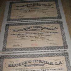 Coleccionismo Acciones Españolas: LOTE DE 3 ACCIONES (PAPELERAS REUNIDAS- ALCOY). Lote 70283373