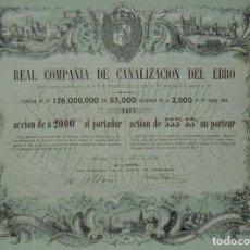 Coleccionismo Acciones Españolas: NAVEGACIÓN: REAL COMPAÑÍA DE CANALIZACIÓN DEL EBRO- AMPOSTA (TARRAGONA) / ESCATRÓN (ZARAGOZA) (1856). Lote 94848562