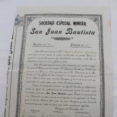 Coleccionismo Acciones Españolas: ACCION SOCIEDAD ESPECIAL MINERA SAN JUAN BAUTISTA, CARTAGENA 1911, CON SELLO FISCAL.. Lote 71735875