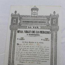 Coleccionismo Acciones Españolas: ACCION SOCIEDAD DE MINAS LA PAZ, VIRGEN DE LAS MERCEDES, CARTAGENA 1857. Lote 71736839