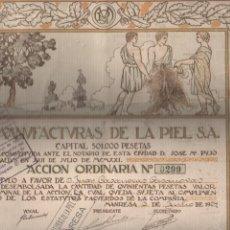 Coleccionismo Acciones Españolas: MUY INTERESANTE ACCIÓN DE MANUFACTURAS DE LA PIEL SA, PIELSA DE MANRESA 1-7- 1924 Nº 0299. Lote 71813815